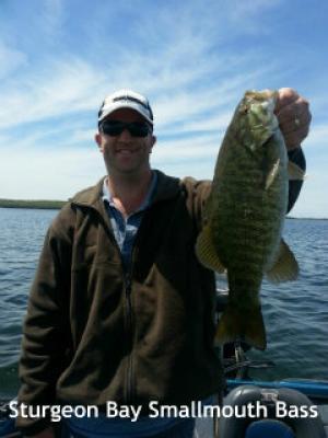Nice Sturgeon Bay smallmouth bass for Captain Doug Kloet